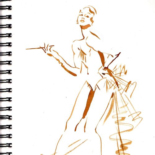 Cabaret costume live drawing