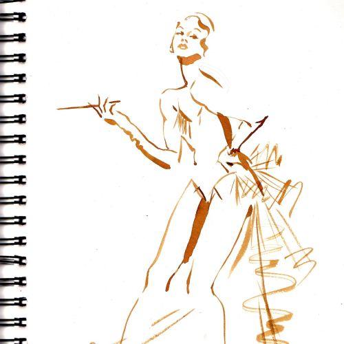 Cabaret costume live drawing