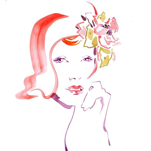 Watercolour fashion beauty