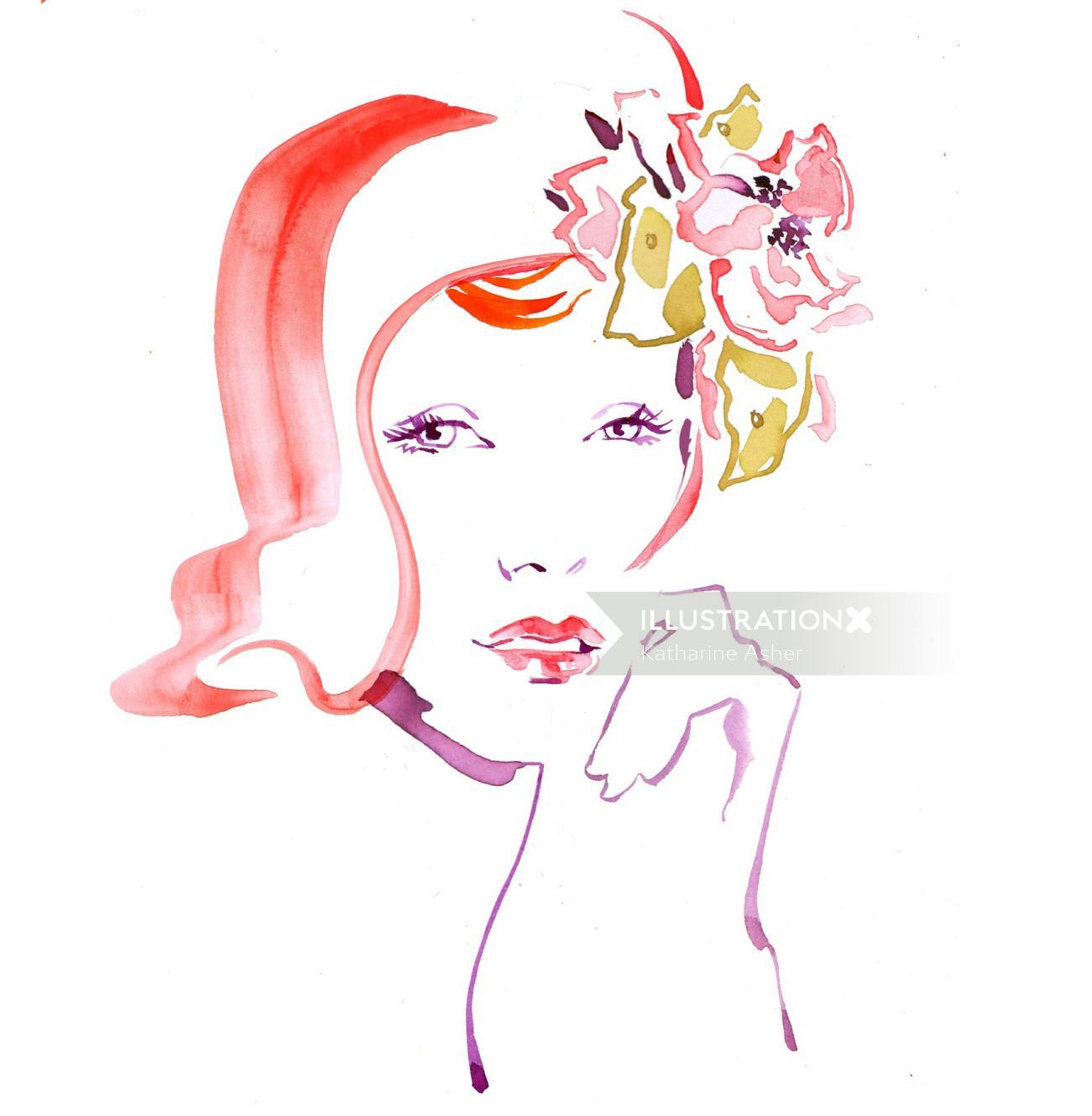 Watercolour fashion beauty