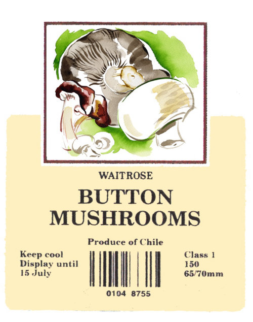 Packaging Button Mushrooms labels