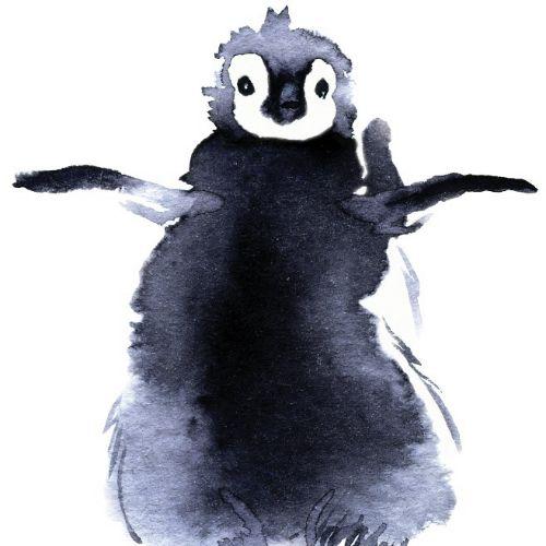 Penguin watercolor art