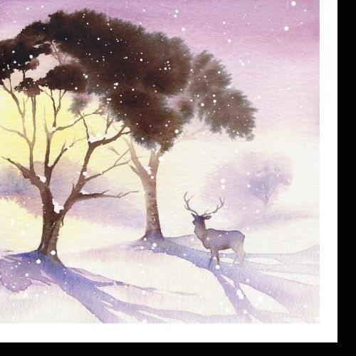 festive card illustration of deer by Katharine Asher