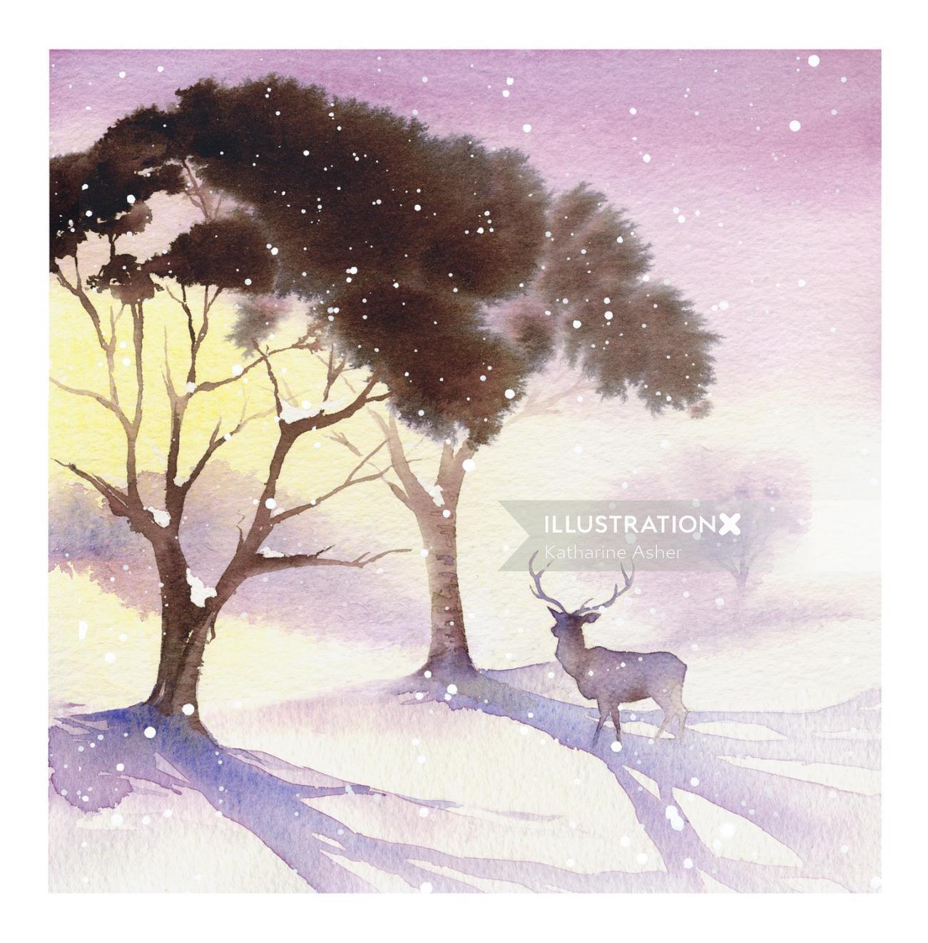 festive card illustration of deer by Katharine Asher