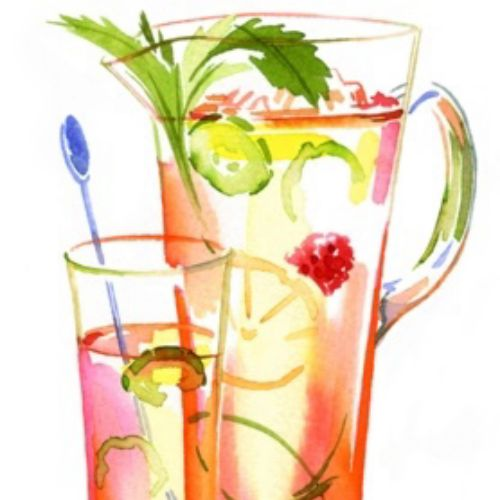 watercolor Brushstroke illustration of cocktail
