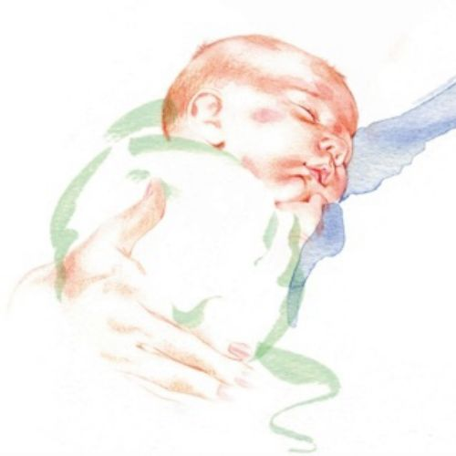 watercolor illustration of new born baby for NHS maternity wards