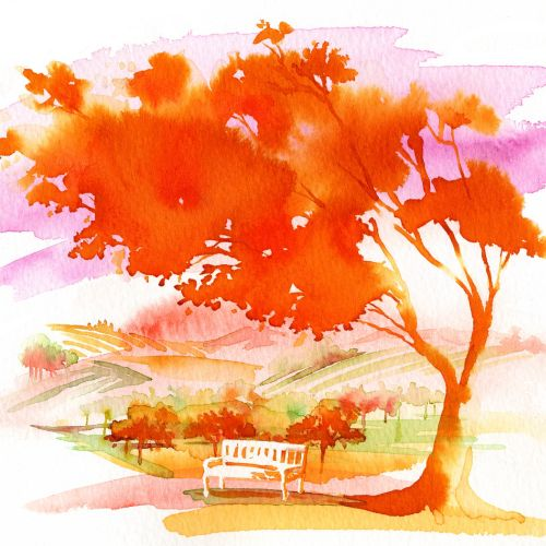 nature landscape painting illustration by Katharine Asher