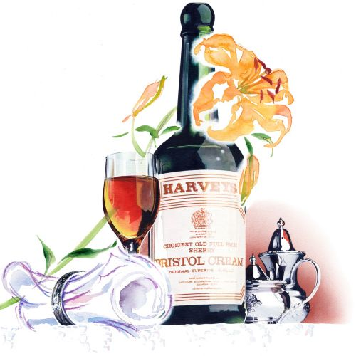 Watercolour Lettering of Harveys wine bottle