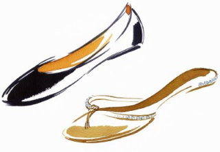 Ladies foot wear illustration by Katharine Asher