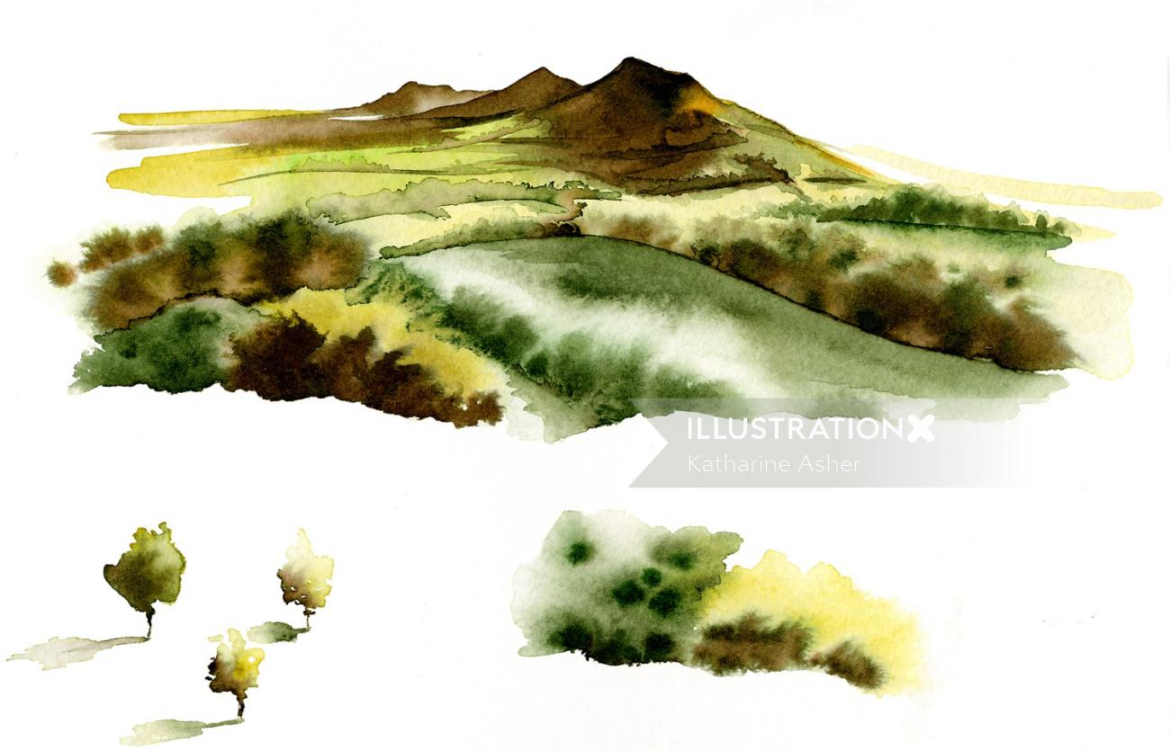 Scenic for McClellands Whisky merchandising - Illustration by Katharine Asher