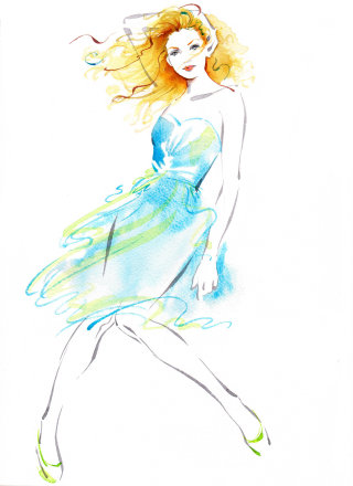 London fashion festival illustration by Katharine Asher