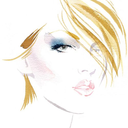 Fashion illustration for Elizabeth Arden by Katharine Asher