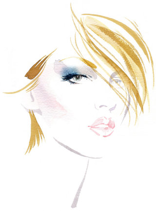 Fashion illustration for Elizabeth Arden by Katharine Asher
