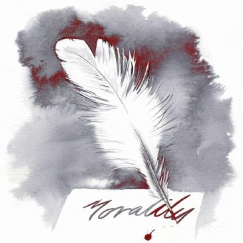 White feather illustration by Katharine Asher
