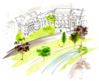 Architectural Cornwall Terrace illustration by Katharine Ashe