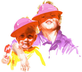 Watercolor portrait painting of kids standing in sunlight