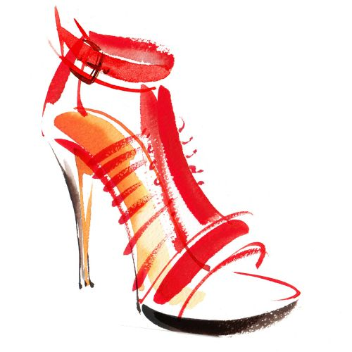 Red high heel shoe illustration by Katharine Asher