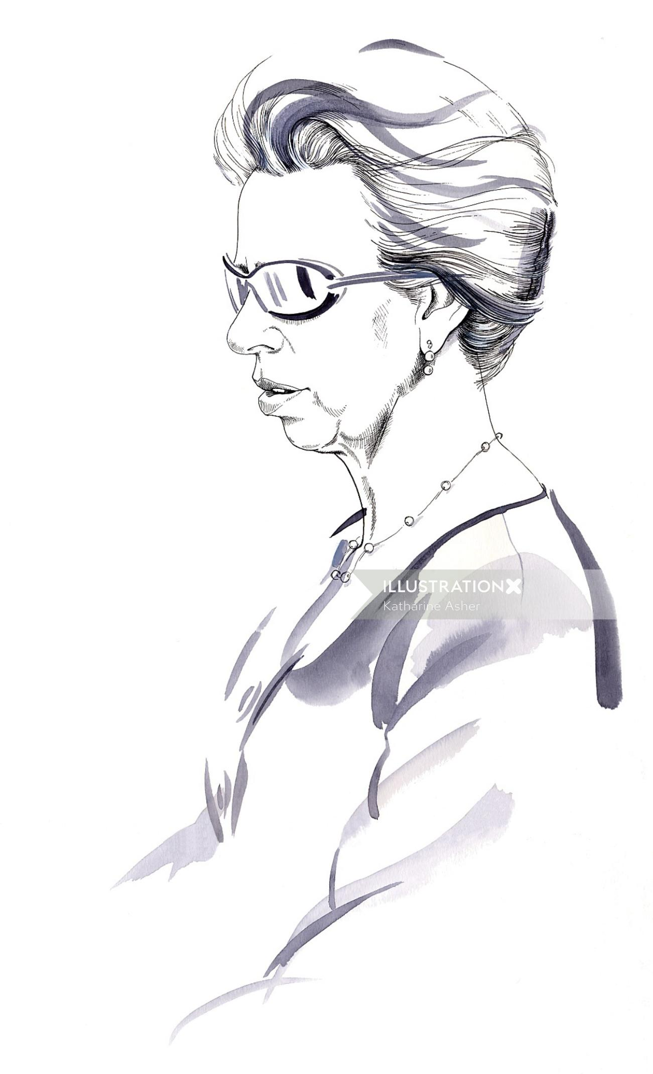 Portrait of Princess Anne illustration by Katharine Asher
