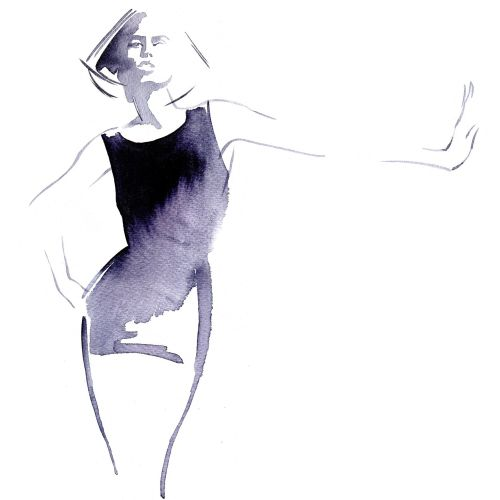 Watercolour fashion illustration by Katharine Asher