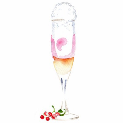 Water color painting of Bellini Cocktail