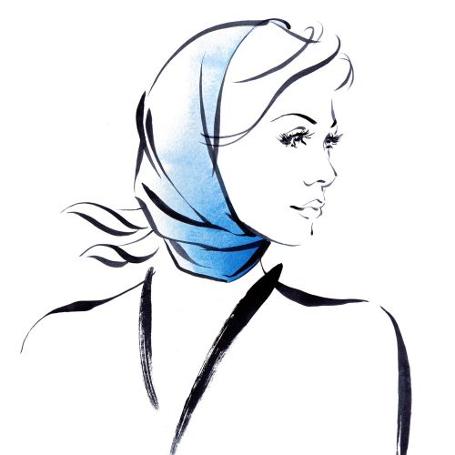Headscarf styles illustration by Katharine Asher