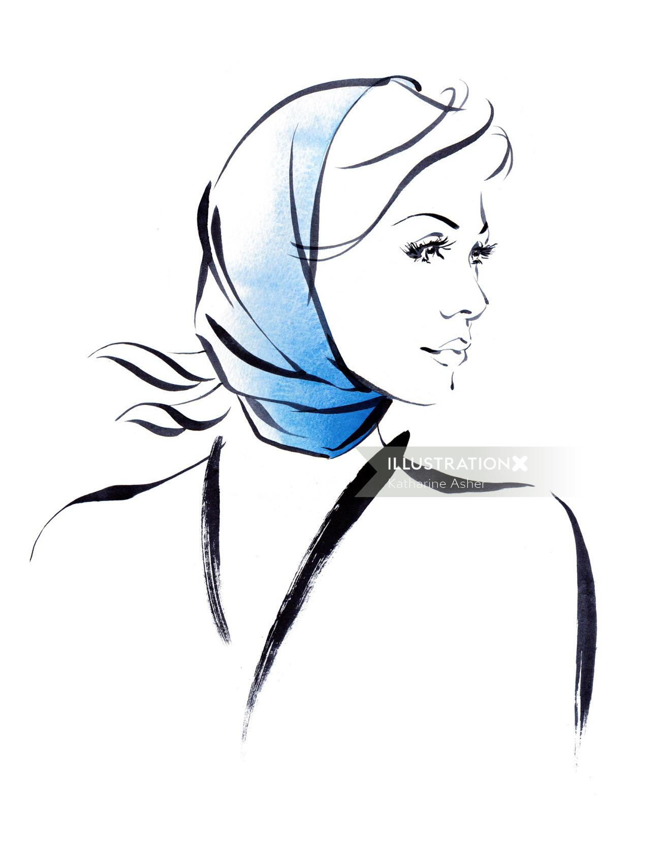 Headscarf styles illustration by Katharine Asher