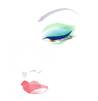 Eye makeup illustration by Katharine Asher