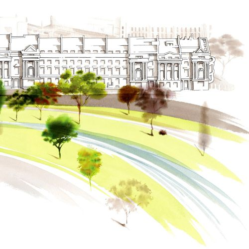 Cornwall Terrace illustration by Katharine Ashe