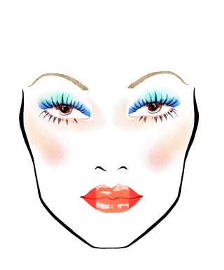 Blue eyes and red lips illustration by Katharine Asher