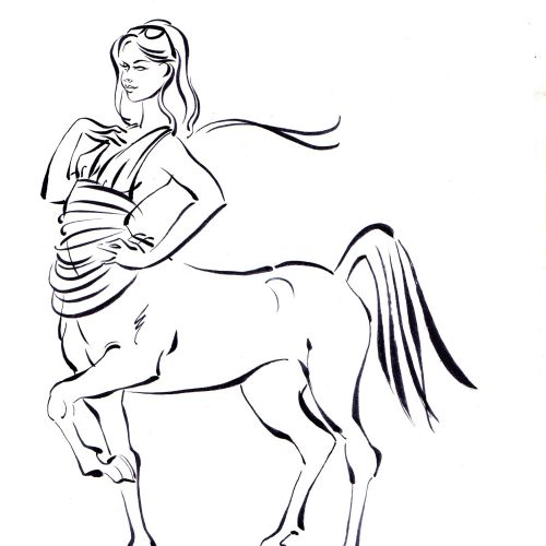 Storyboard illustration of woman and horse