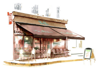 Maison blanc shop front promo illustration by Katharine Asher