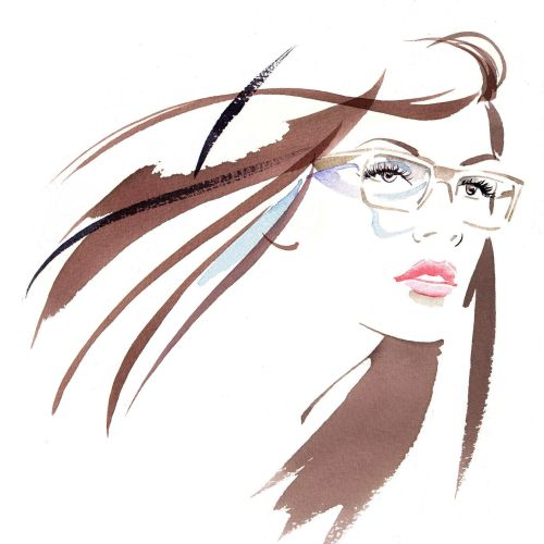 Lady with opticals illustration by Katharine Asher