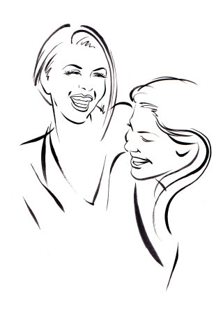 Girls laughing illustration by Katharine Asher