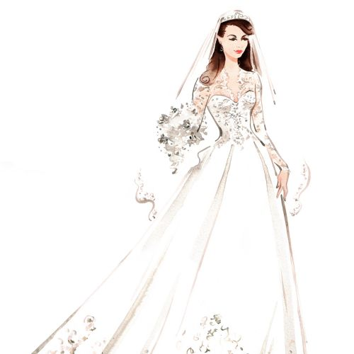 Bride in wedding dress, beauty and fashion illustration by Katharine Asher