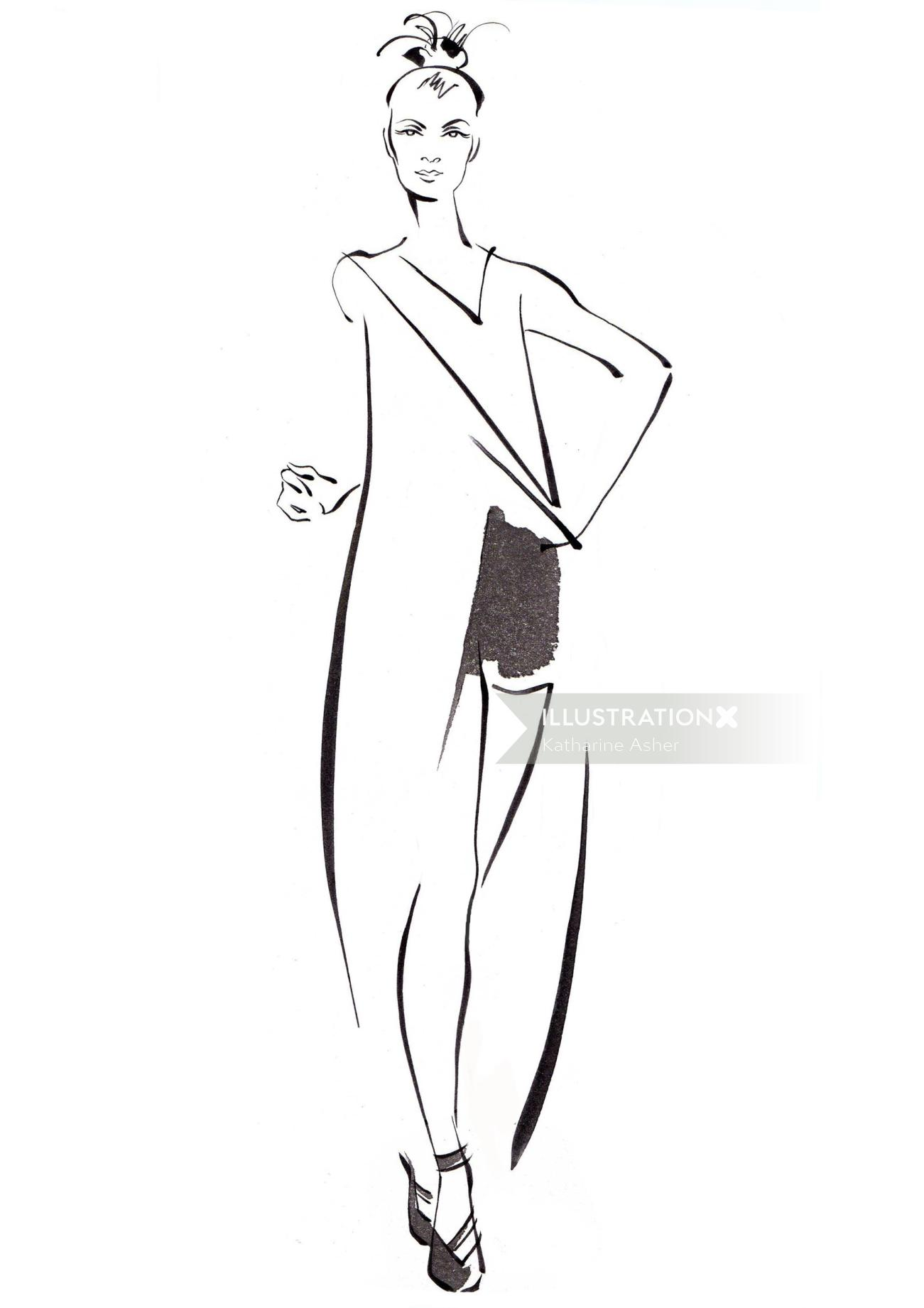line drawing of female model for fashion magazine cover