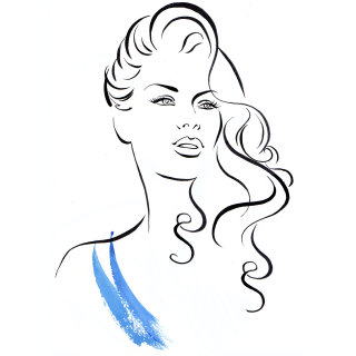 Curl hair illustation by Katharine Asher