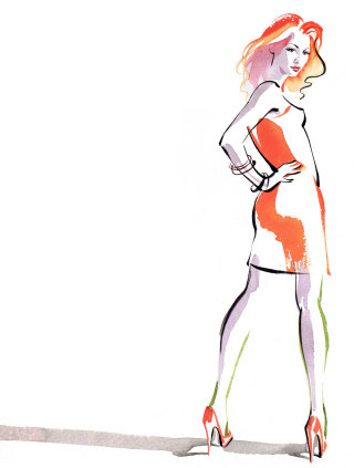 Fashion model illustration by Katharine Asher