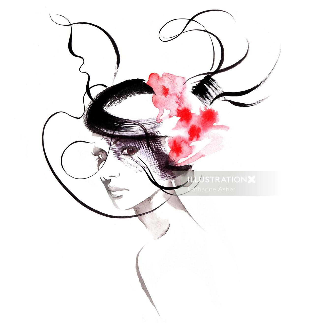 Millinery couture fashion illustration