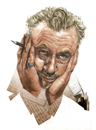 Portrait illustration of John Steinbeck by Katharine Asher