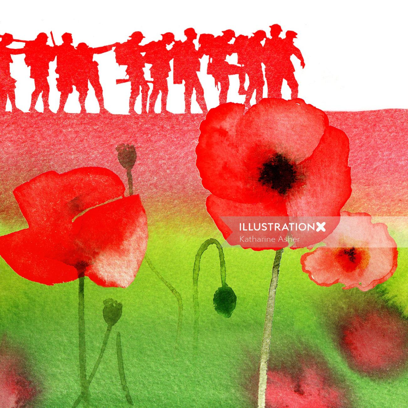 Remembrance Day Stamps illustration by Katharine Asher