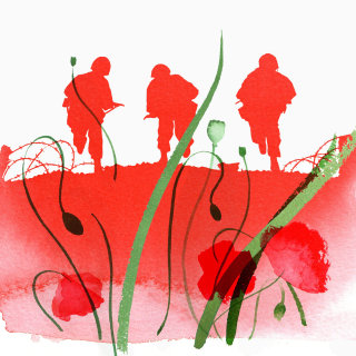 Remembrance Day Stamp for Jersey Post 2014 - An illustration by Katharine Asher