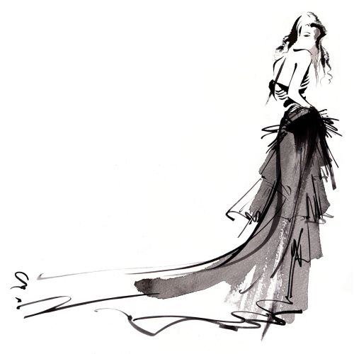 Fashion illustration of lady by Katharine Asher
