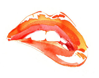 Orange Lip Biter illustration by Katharine Asher