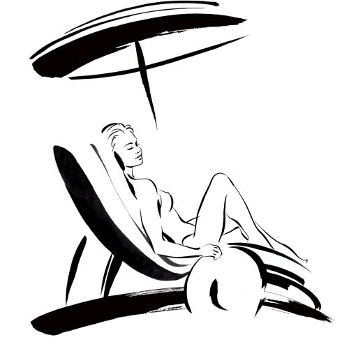 Lady on sunlounger illustration by Katharine Asher