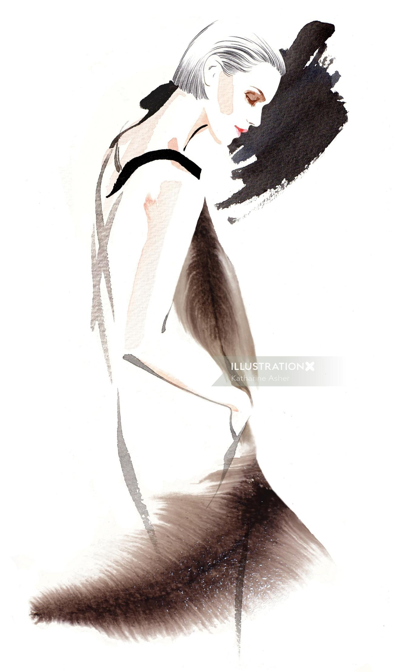 Georgio Armani woman fashion illustration by Katharine Asher