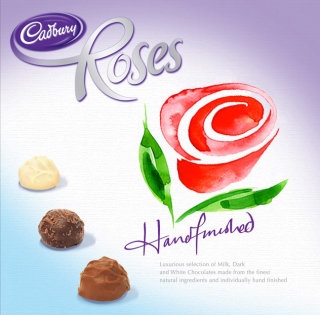 Cadburys roses chocolates illustration by Katharine Asher