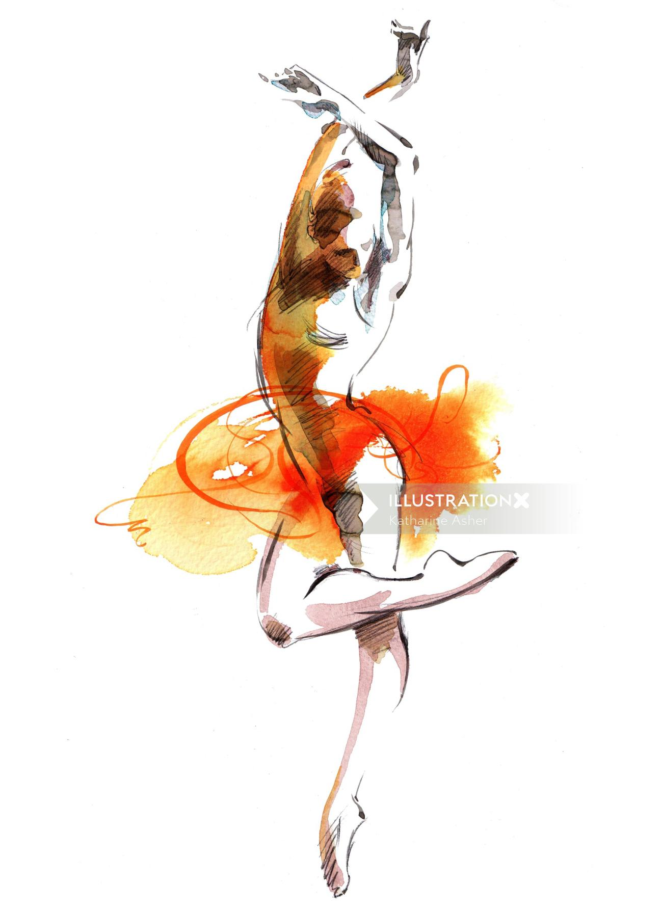 Woman dance illustration by Katharine Asher
