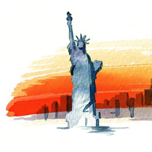 Statue of liberty illustration by Katharine Asher