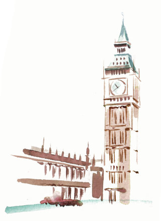 Clock tower illustration by Katharine Asher