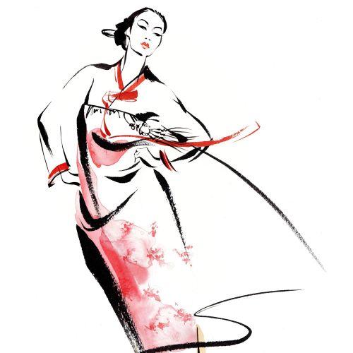 Korean traditional dress illustration by Katharine Asher